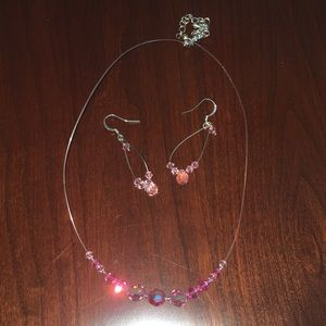 Handmade pink crystal earring/necklace set